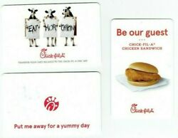 Chick-fil-a Gift Card Lot Of 3 - Chicken Fast Food Restaurant - Cows - No Value