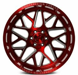 24x12 Axe 5.2 Compression Forged Red Brushed Wheels 8x180 Chevy Gmc Duramax