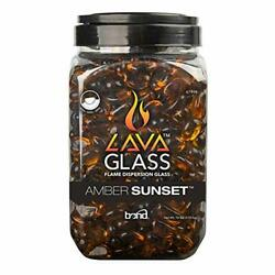 Bond Mini Lava Glass For Gas Fire Pit, 10 Lbs Fire Pit Glasses, Amber Sunset