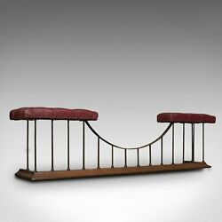 Antique Fender Seat, English, Brass, Leather, Fireside Bench, Victorian, C.1880