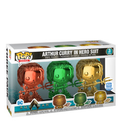 Funko Pop Heroes Dc Aquaman Arthur Curry In Hero Suit-3 Colors Red, Green, Gold