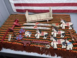 Vtg Dingling Bros Circus Wagon Horses Animals Wooden Toy Box As Is For Parts
