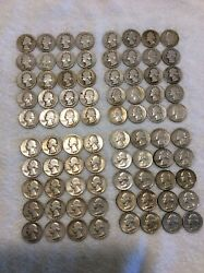 Two Rolls Silver Washington Quarters. 80 Coins. 79 Different. 1932-1964