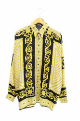 Versace Classic V2 Silk Long Sleeve Shirt Specific Wing Button Baroque Pat B618