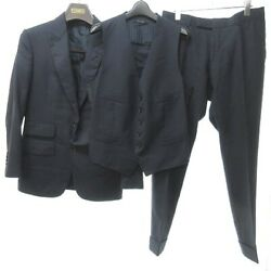 Tom Ford Basic Base Pieces Single Suit Setup Wool With Hanger Navy Blue 7- B618