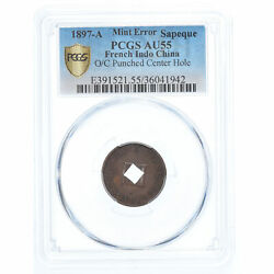 [908015] Coin French Indo-china 2 Sapeque 1897 Paris Punched Center Hole