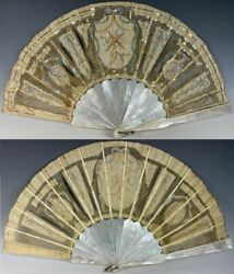 Elegant Antique French 28.5cm Sequined Fan 2nd Empire Crossed Torches Sequins