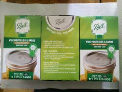 Ball 🥫 Wide Mouth Lids And Rings Bands Mason Jar Canning Lot 3 Boxes New 36 Pc