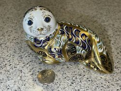 Royal Crown Derby Harbour Seal Animal Paperweight - Ltd Edition - Gold Stopper