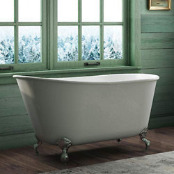 58 Cast Iron Swedish Tub With No Faucet Holes And Chrome Feet-holt