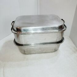 Vintage Wear Ever Aluminum Roasting Pan 3 Pc Set 1940's Mcm Made In Canada 229