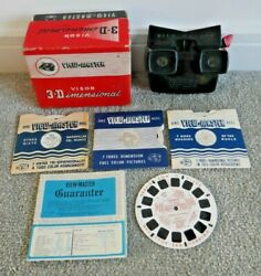 Rare Spanish Viewmaster Model E Viewer Boxed With Reels Spain Black Red I463