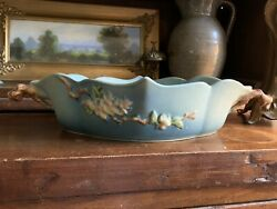 Roseville 331-12andrdquo Blue Apple Blossom Console Bowl