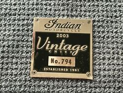 Indian Motorcycle Data Plate Kawasaki Drifter Parts And Accessories Chief Vintage