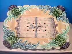 Antique French Majolica 2 Piece Asparagus And Artichoke Serving Platter C.1800's