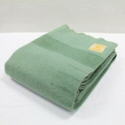 Vintage Hudson's Bay Company 3.5 Point Wool Blanket 81 X 62 Green Made England