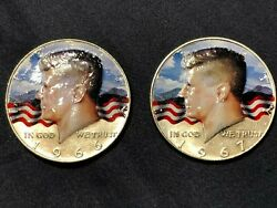 1966 And 1967 40 Silver Kennedy Half Dollars- Lot Of 2, Colorized, Painted