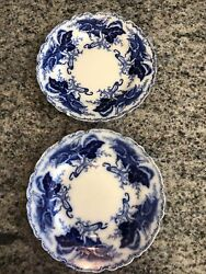 Two Antique Johnson Brothers Fulton Flow Blue Dinner Plate 10andrdquo