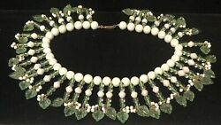Miriam Haskell Necklace Rare Vintage 16x2 Signed White Green Glass Dangle A55