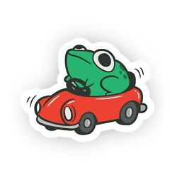 Funny Frog In Red Car Meme Vinyl Wall Bumper Bottle Phone Decal Decor Sticker