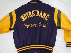 Nwt Vintage 1992 Cooper Collegiate Notre Dame Leather And Wool Varsity Jacket-xl