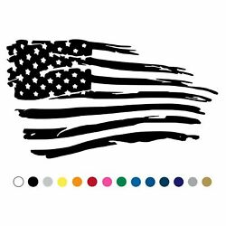 Tattered Distressed American Flag Decal Car Truck Trailer Ripped Torn Teared V1