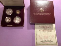 1995 Us Olympic Coins Of The Atlanta Cent Games 4 Coin Proof Set W/gold Coin B42