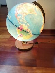 Vintage Replogle 12 Lighted World Globe Made In U.s.a Works Great