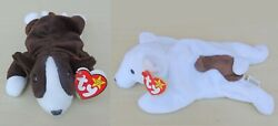 Ty Beanie Baby Bull Terrier Puppies: 1997 Bruno amp; 1998 Butch with Attached Tags