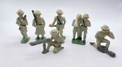 Lot 6 Cast Iron Metal Toy British Toy Soldier Figures Green Outfits Army 3-1/4