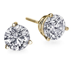 1 Carat Diamond Earrings Yellow Gold Screw Back 3 Prong Vs2 Andpound5600 51549208