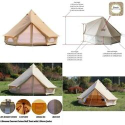 Danchel Outdoor Cotton Canvas Yurt Tent With 2 Stove Jacks, Glamping Tents For C