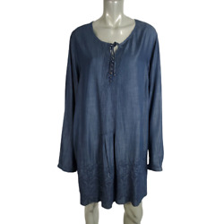 Coldwater Creek Shift Dress Plus 1x 16w 18w Chambray Embroidered Pleated Pockets
