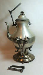Antique Lg Silver Plated Coffee Pot Samovar W/ Warmer And Stand Crown T Engraved
