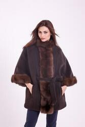 Loro Piana Cashmere Coat With Russian Sable Fur / Size S-m
