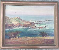 Antique Charles Chas Henry Harmon 1929 Seascape Oil Painting Arts And Crafts Frame