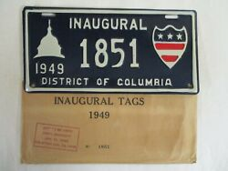 Nice 1949 Washington Dc Inaugural Truman License Plate Tag With Matching Wrapper