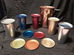 Set Of Mcm Aluminum Beacon Pitcher, 5 Hal-sey 5th Ave Tumblers, 5 Coasters