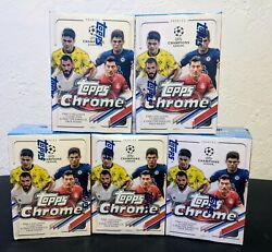 2020-21 Topps Chrome Soccer Uefa Champions League Lot Of 5 Blaster Boxes