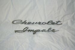 Vintage Early Or Mid 60's Chevy Impala Script Emblems.