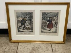 Original Currier And Ives Print Very Small Companions Shall I - Throw If You Dare