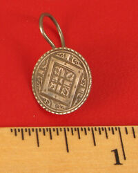Antique 1871 Coin Liberty Dime Earring Pin Brooch Carved Etched Design Rare