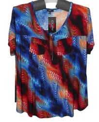 1x 2x 3x Plus New Vibrant Flaming Swirl Textured Knit Blouse Top Cocomo