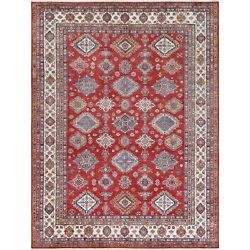10and0391x13and0396 Wool Red Super Kazak With Geometric Design Hand Knotted Rug G61151