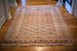 Antique Oriental Rug All Hand Knotted Wool Natural Dyes Signed By Maker 5.4x 8.1