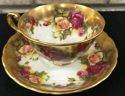 Royal Chelsea Tea Cup Gold English Bone China Cup And Saucer Cabbage Pink Roses
