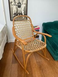 1970s Snocraft Bent/steamed Oak Rocker With Rawhide Snow Shoe Back And Seat