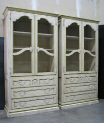 Pair Baker / Milling Road Provincial Cabinets Antiqued Finish And Grillwork Doors