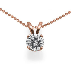 Andpound6850 1.01 Ct Diamond Necklace Pendant Single Rose Gold 14ct Si2 51511273