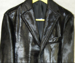 Frankie Morello And039runwayand039 Black Ponyhair Leather Men Fitted Jacket Eu 48 Us 38